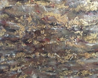 GOLD MINE-original abstract painting,mixed media and collage,handmade artwork,international artist,modern art