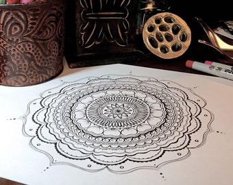 Mindfulness Coloring Pages Pdf : Pdf download adult coloring page zentangle inspired hand