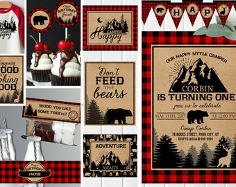 Camping invitations and decor - Red Plaid - Camping birthday party - Printable invitation - campout sleepover invitation - Digital