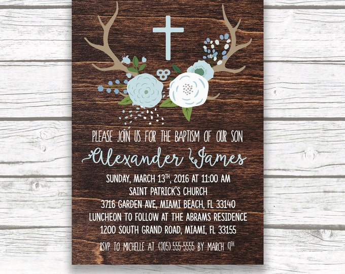 Baptism Invitation Boy, Blue Christening Invitation, First Communion Invitation Boy, Rustic Baptism Invite, Wood Antler Baptism Printable