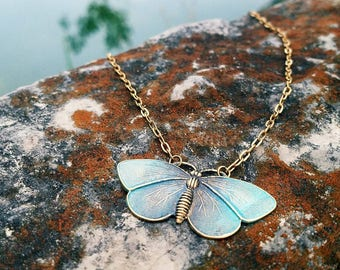 """ON SALE! """"Vivid by Virtue""""- Solid Brass Butterfly Pendant Necklace"""