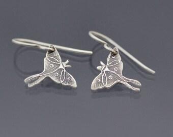 Sterling Silver Luna Moth Earrings