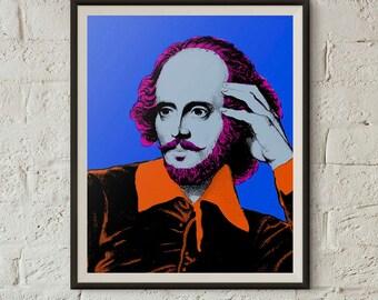 William Shakespeare Print, Pop Art, Warhol Print, Printable Wall Art, Pop Art Portrait, Digital Download, 8x10 Print, Instant Download