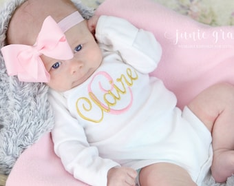 Baby Girl Clothes Baby Girl Coming Home Outfit Newborn Baby Girl Outfit Baby Girl Gift Monogrammed Baby Girl Outfit