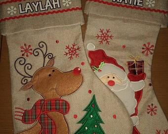 Christmas Stocking Personalised - Kid's Stocking - Child's Stocking - Holiday Stocking - Fireplace Stocking - Hessian Stocking - Decor