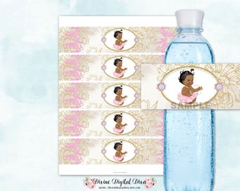 Water Bottle Labels African American Princess Ballerina Tutu Glamour Girl Pink & Gold | Digital Instant Download