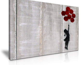 BANKSY Balloon Girl Fly Away Graffiti Stretched Canvas Wall Art Picture Print 76x50cm