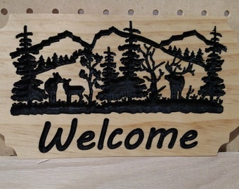 Small Elk Family Welcome Sign