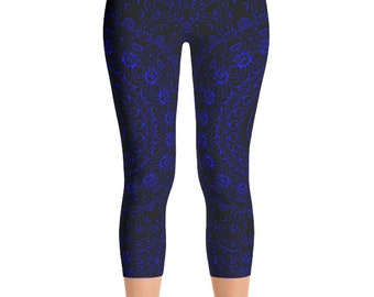 Capris Blue Yoga Pants, Black Leggings with Blue Mandala Designs for Women, Printed Leggings, Pattern Yoga Tights