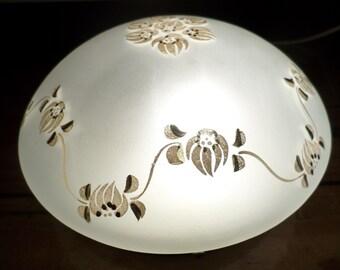 Hand-painted glass lamp * ceiling lamp * wall lamp * deckenleuchte * plafonniere * plafonnier, 1940s