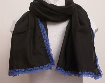 Scarf / scarf / voile cotton and lace