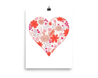 Valentine's Day love floral heart art.. Photo paper poster..wall art nursery love