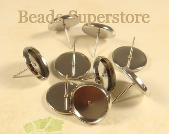 Tray 12 mm Platinum-Plated Brass Ear Stud - Nickel Free, Lead Free and Cadmium Free - 10 pcs