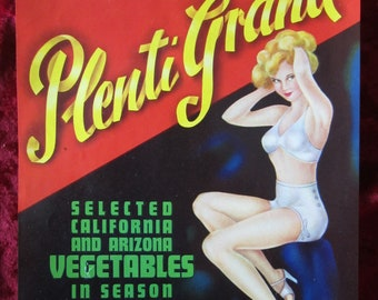 Bailiwick California Vegtables Vintage Fruit Crate Label