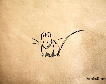 Line Drawing Rat : Rat stamp etsy