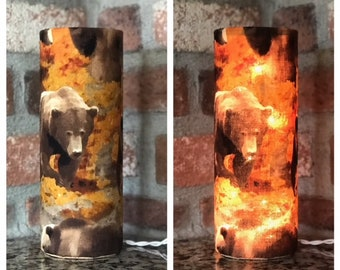 Bears in the Forest Accent Lamp ~ Bears ~ Forest ~ Bears in the Forest ~ Night Light ~ Hunting ~ Camping ~ Grizzly Bear