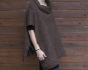 Women's Handknit 100% Merino Wool  Poncho in natural browns