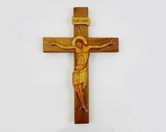 Vintage Christ on Cross Made of Wood