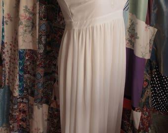 long cream dress beaded bodice ref 598