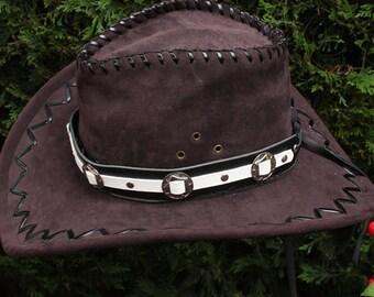 Black & white leather hat band, concho hat band, cowboy hat band, cow girl hat band, leather hat band, mens hatband, gambler hat band