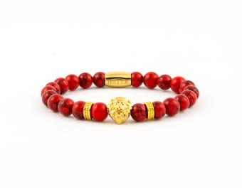 Lion Bracelet, gold lion, gemstones