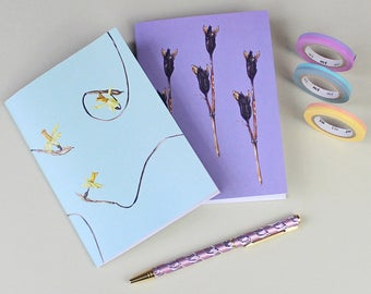 Botanical Notebooks gift set-gift for Mothers day- stocking filler - Floral notebooks-Tete a Tete daffodil print-Iris seed pod Watercolour