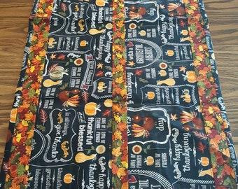 AUTUMN FALL HARVEST Thanksgiving Table Runner, Table Linens, Kitchen, Chalkboard
