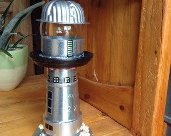 Lighthouse //lighthouse from repurposed parts //Homemade Lighthouses //One of a kind lighthouses //steampunk lighthouse//industrial art