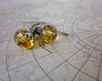 Amber Freckled Rondelle and Antiqued Brass Earrings, Simple Drop Earrings, Gift for Her