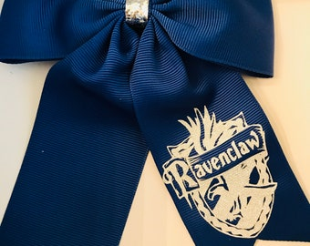 Harry Potter Hogwarts Ravenclaw Crest House Hair Bow with Tails on Alligator Clip for Girls, Women, Silver Vinyl Glitter