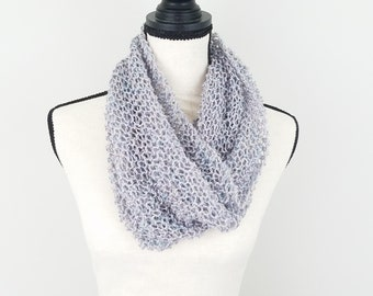 Silver Lightweight Cowl Hand Knit Light Grey Cowl Warm Weather Fashion
