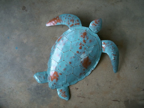 Sea Turtle Metal wall sculpture 20 x 20 Tropical Beach Coastal