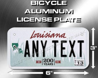 "Louisiana Custom ANY TEXT Bicycle Toy Bike Power Wheels Scooter License Plate Tag 3""x 6"""