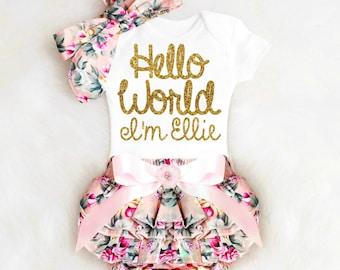 Baby Girl Gift Baby Shower Gift Girl Personalized Baby Girl Outfit Personalized Floral Bloomers Baby Bloomers Baby Girl Clothes Boho