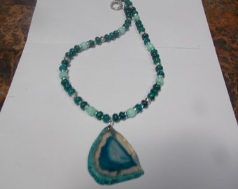 Hand made one of a kind Necklace w/ Arurite/ Chrysocolla