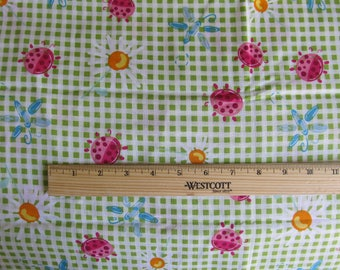 Fabric 1 Yard 18 Inches Green Gingham check Pink Ladybugs Daisy Flowers Blue Dragonfly Cotton