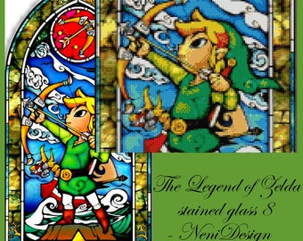 Legend of Zelda stained glass 8, cross stitch pattern, cross stitch Zelda, cross stitch Legend of Zelda, PDF pattern - instant download!