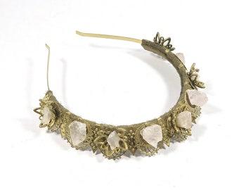 Juliette Gold Crown with Rose Quartz - by Loschy Designs