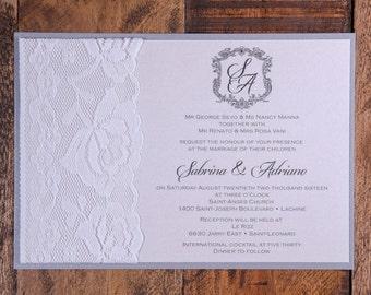 Romantic Invitation, Romantic Wedding Invitation, Crest Wedding Invitation, Crest Invitation, Romantic Wedding Invitation, Lace Invitations