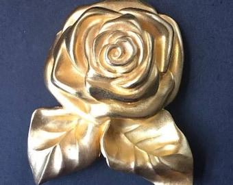 Givenchy Matte Gold Tone Rose Brooch Signed