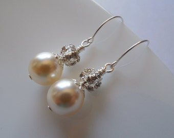 Bridal Earrings, Rhinestone Crystal and Swarovski Round Pearl Earrings, Vintage Style Bridal Earrings, Weddng Jewelry