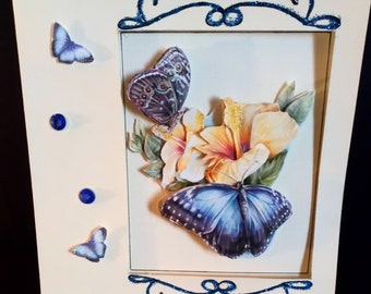 Card Ecru 3D blue butterflies pattern