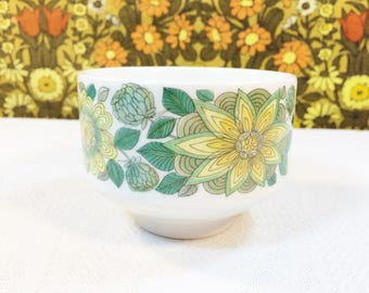 Vintage 60s Pontesa Sevilla Sugar Bowl Creamer Castillan Collection Spain Green Flower