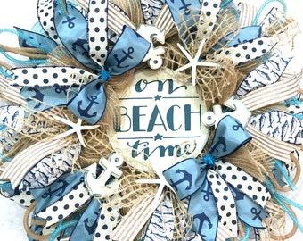 Nautical Wreath, Summer Wreath, Beach Decor, Coastal blues and Sandy Beach Colors, Starfish and Anchors, Coastal Decor, Fron't Door Wreath