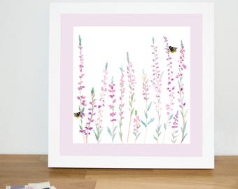 Heather and Bee 23cm Watercolour Print | Signed Glicee Print | 23cm x 23 cm Square | by Hannah Knapton | Pink & Purple