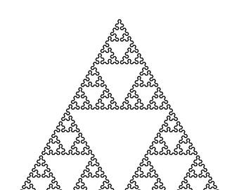 Mathematical Wall Art. 7th Iteration Sierpinski Triangle Space-Filling-Curve