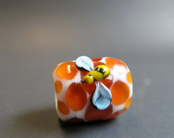 Bees and honey comb Hand Blown Glass Dread Bead, Beads for Dreadlocks, 6mm bead hole