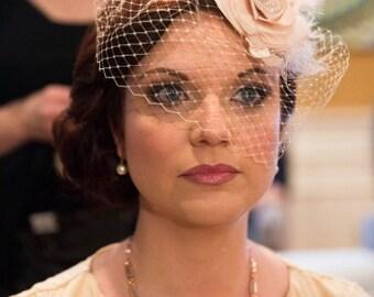 Champagne Birdcage Veil with Flower Fascinator Bridal Fascinator