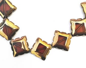 8pc 17mm copper plated  square shape glass beads-9154
