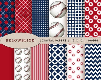 Baseball Digital Paper Pack, Scrapbook Papers, 12 jpg files 12 x 12 - Instant Download - DP215